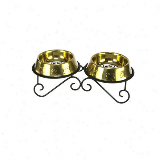 Platinum Pets Double Diner Dit Stand With 2 Bowls In Gold