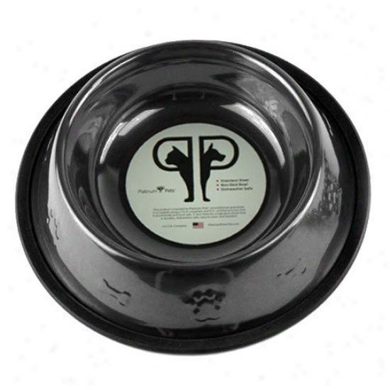 Platinum Pets Embossed Dog Bowl In Black Chrome