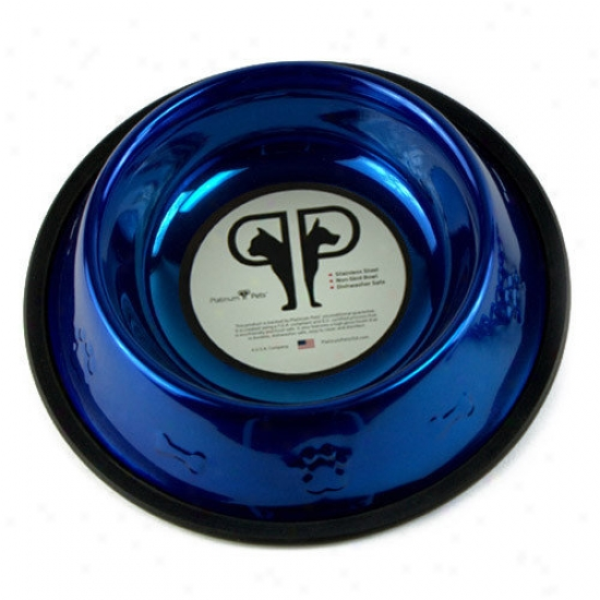 Platinum Petts Embossed Dog Bowl In Blue
