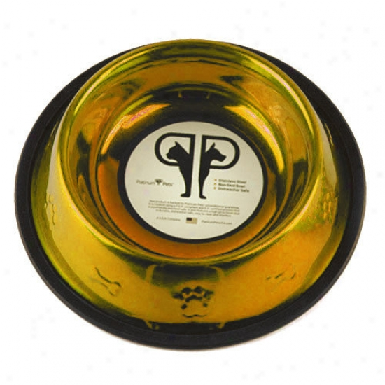 Platinum Pets Embossed Dog Bowl In Gold