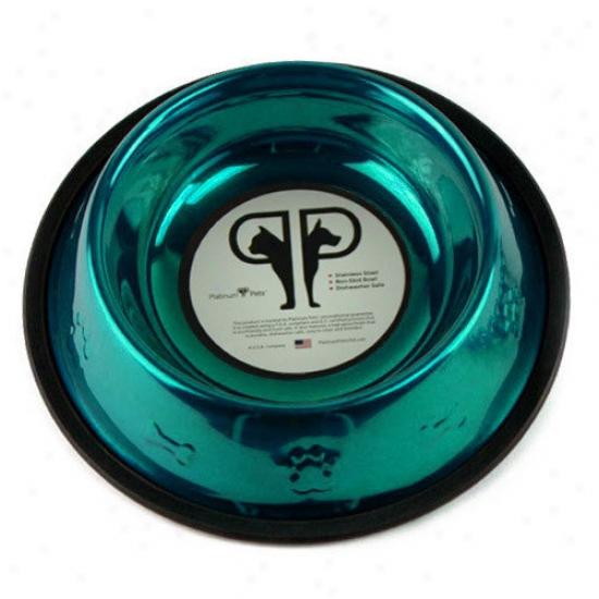 Platinum Pets Embossrd Dog Bowl In Teal