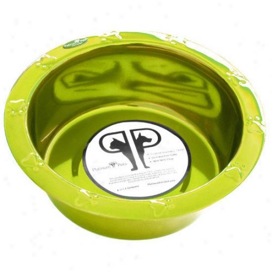 Platinum Pets Embossed Rim Dog Bowl In Corona Lime