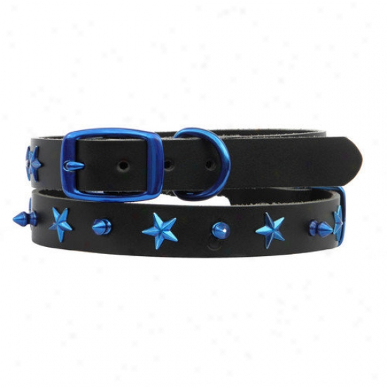 Platinum Pets Genuine Leather Dog Collar With Spikes And Stars