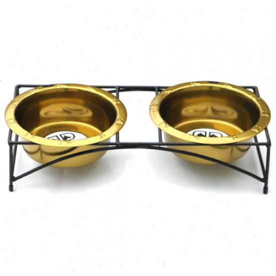 Platinum Pets Modern Double Diner Stand With 2 Wide Rimmed Bowls