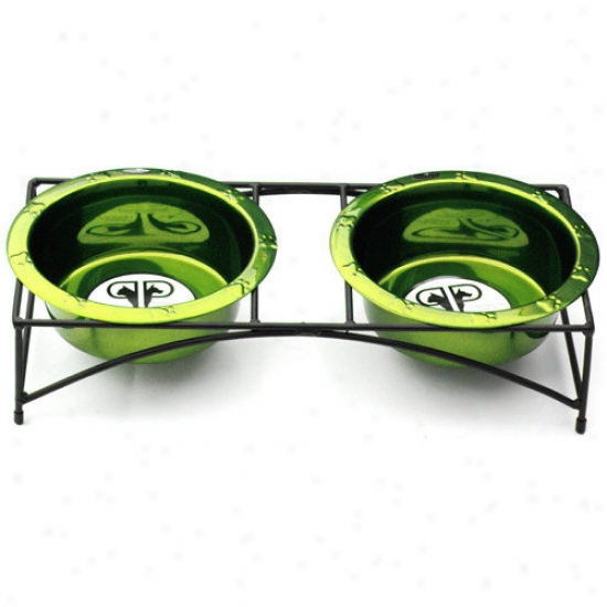 Platinum Pets Modern Double Diner Stand With Pair Rinmed Dog Bowl In Corona Lime