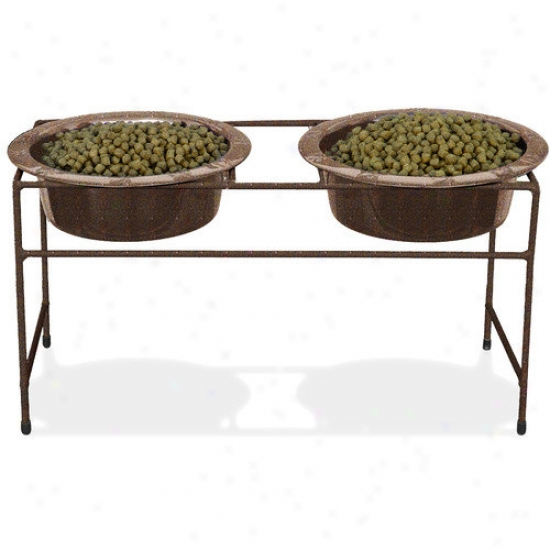 Platinum Pets Modern Double Vein Diner Be upon the feet With Two Wide Rimmed Bowl