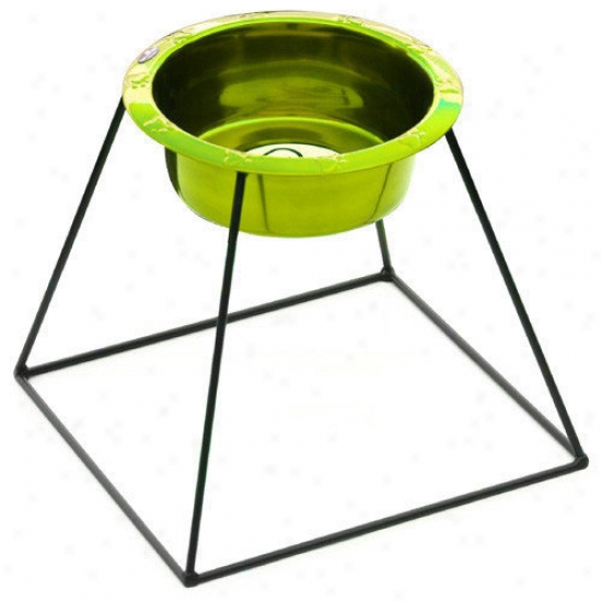 Platinum Pets Pyramid Diner Stadn With Rimmed Embpssed Dog Bowl In Corona Limr