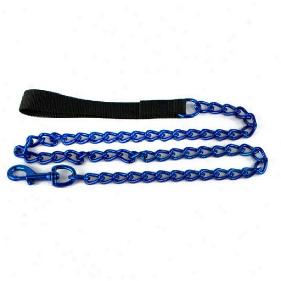 Platinum Pets Steel Dog Leash In Blue With Black Nylon Handle