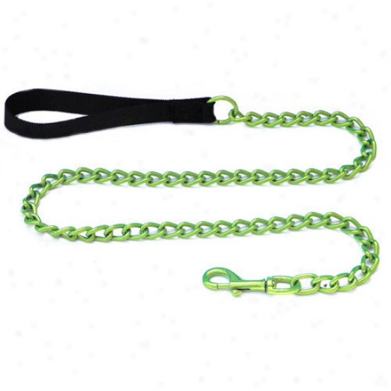 Platinum Pets Steel Dog Leash With Black Nylon Handle In Corona Lime