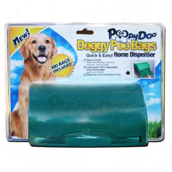 Poopy Doo Doggy Poo Bag Home Dispenser With 100 Bag Roll