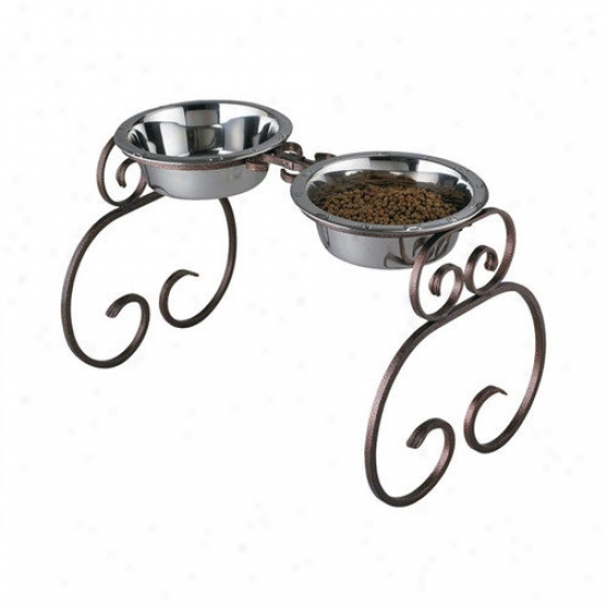 Qt Dog Extra-tall Classic Wrought Iron Dog Feeder