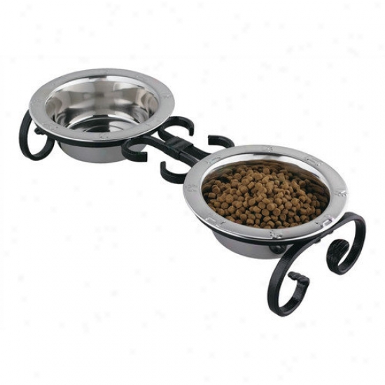 Qt Dog Small Classic Wrought Iron Dog Feeder