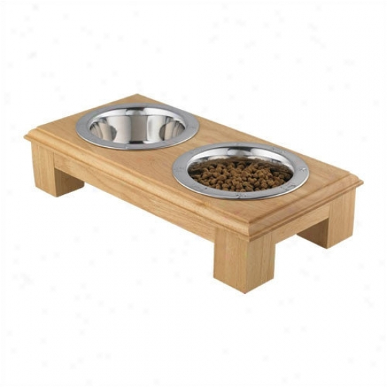 Qt Dog Small Wooden Raised Coupled Dog Feeder