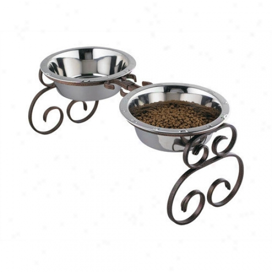 Qt Dog Tall Classic Wrought Iron Dog Feeder