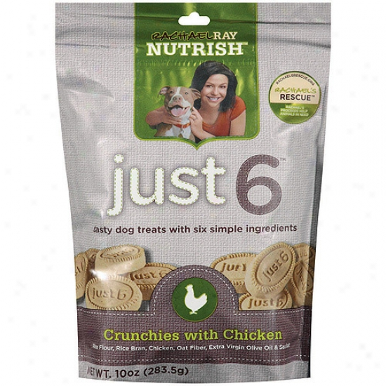 Rachael Ray Nutrish Just 6 Crunchies Dog Treats With Chicken, 10 Oz