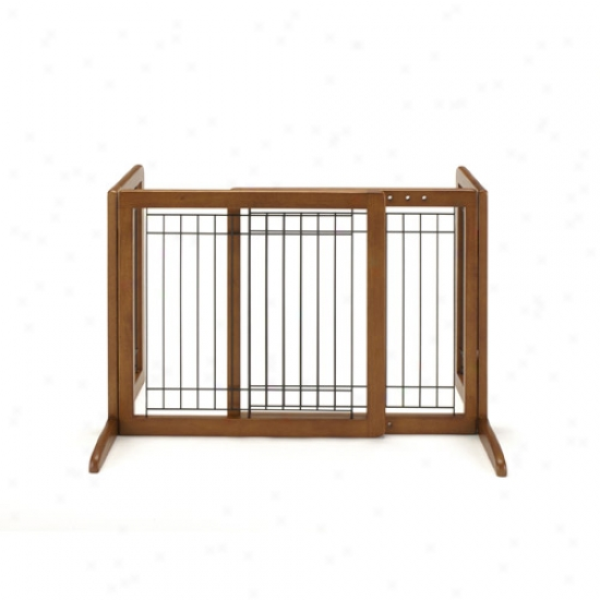 Richell Freestanding Pet Gate, Small, Brown