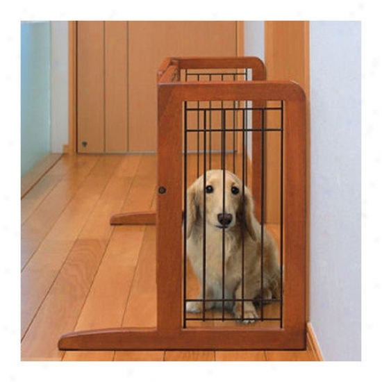Richell Freestanding Wooden Pet Gate In Autumn Matte Finish