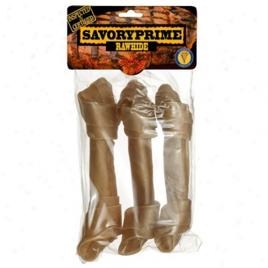 Savory Highest 00019 7.5in Rawhide Knkt Dog Bone 3 Count