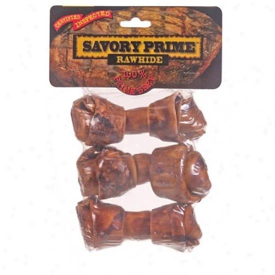 Savory Prime 23205 3 Pack Beef Flavor Rawhide Bones