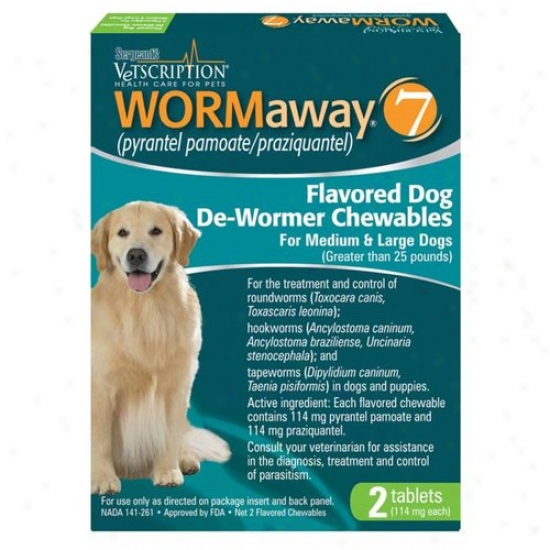Sergeants 04177 Pet Care Products Wormaway Flavored Dog De-wormeer Chewables