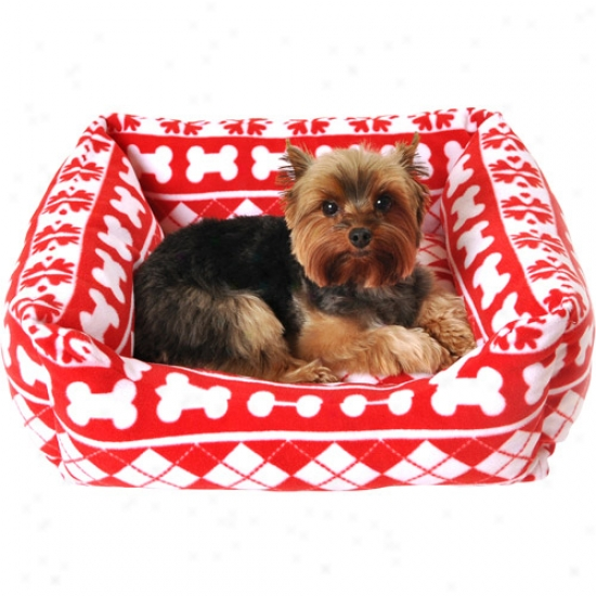 "Simpl yDog Bone And Snowflake Print Dog Fleece Bed, 18.5"" X 6.3"", Red/white"
