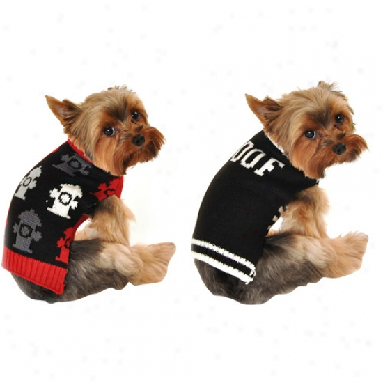 Simply Dog Fire Hydrant Dog Sweater/woof Dog Sweater Bundle, Black, (multiple Sizes Available)