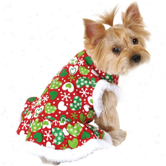 Simply Dog Hearts Print Dog Dress, Red (multiple Sizes Available)