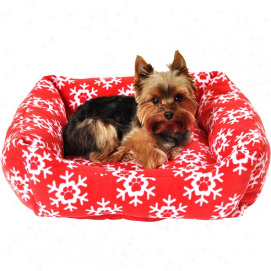 "Simply Dog Paw Snowflake Print Dog Fleece Bed, 18.5"" X 6.3"", Red//white"