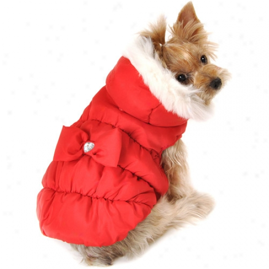 Simply Dog Puffy Bow Dog Jacket, Red, (multiple Sizes Available)