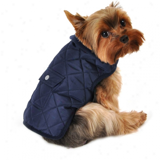 Simply Dog Quilted Pocket Dog Jacket, Navy, (multiple Sizes Available)
