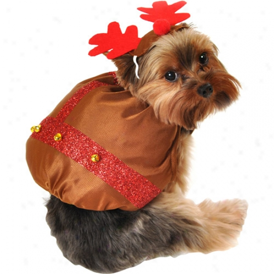 Simply Dog Reindeer Dog Costume Hat Set, Brown, (multiple Sizes Available)