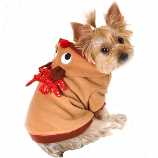 Simply Dog Reindeer Dog Hoodie With Antlers, Brown, (mutliple Sizes Available)
