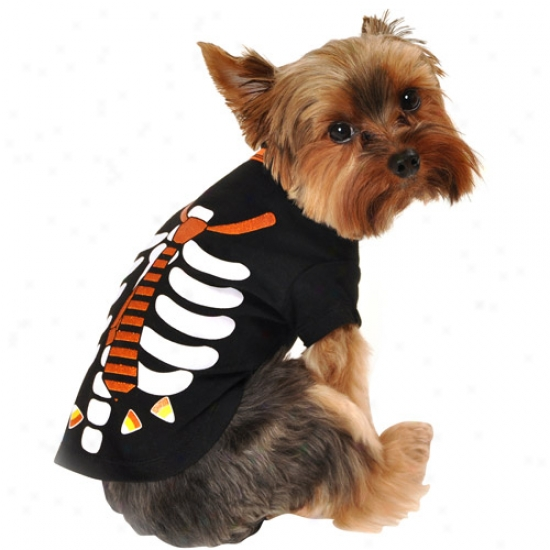 Simply Dog Skeleton Tie Dog T-shirt, Black, (multiplr Sizes Available)