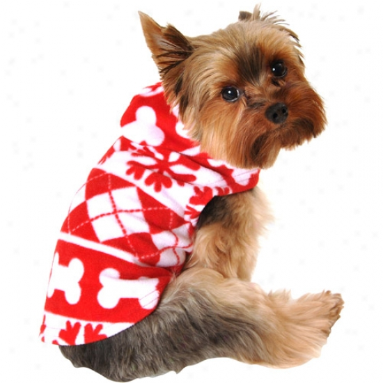 Simply Dog Snowflake Print Dog Fleece, Red/white, (multiple Sizes Available)