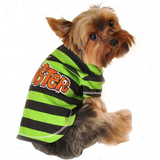 Simply Dog Striped Lil' Monster Dog T-shirt, Green, (multiple Sizes Available)