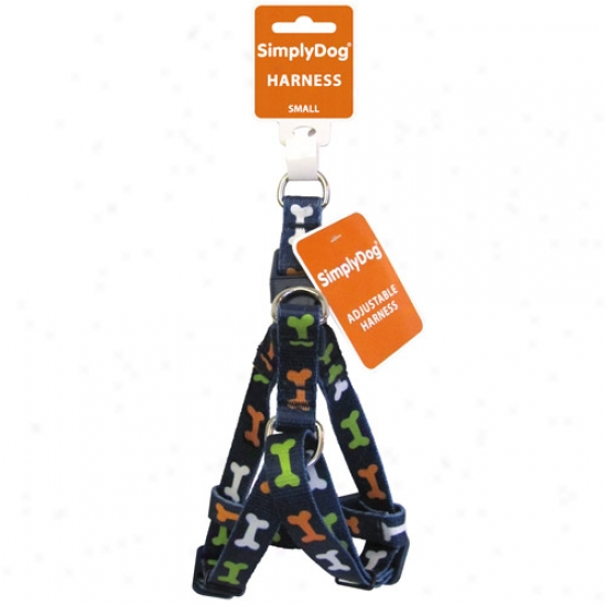 Simplydog Adjustable Navy Bone Dog Harness