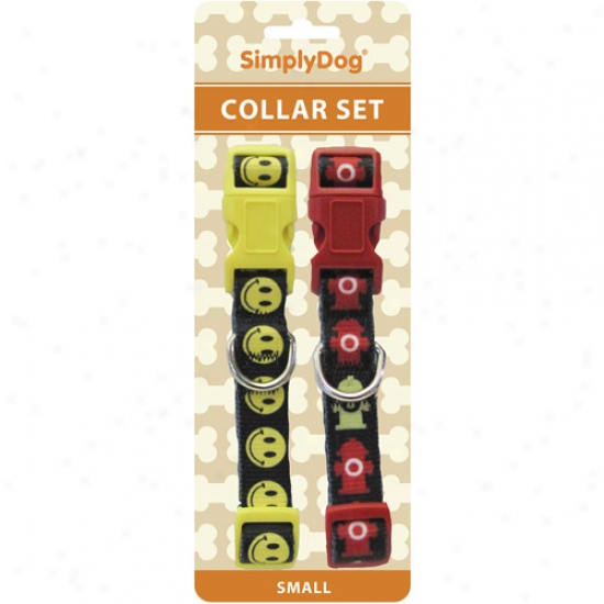 Simplydog Dig Collars, Small , Happy Face/fire Hydrant, 2 Count