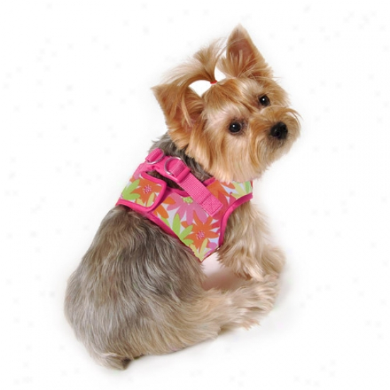 Simpiydog Flower Dlg Body Harness, Orange/hot Pink,, (multiple Sizes Available)