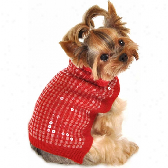 Simplydog Red Sequin Bow Dog Sweater, (multiple Sizes Available)
