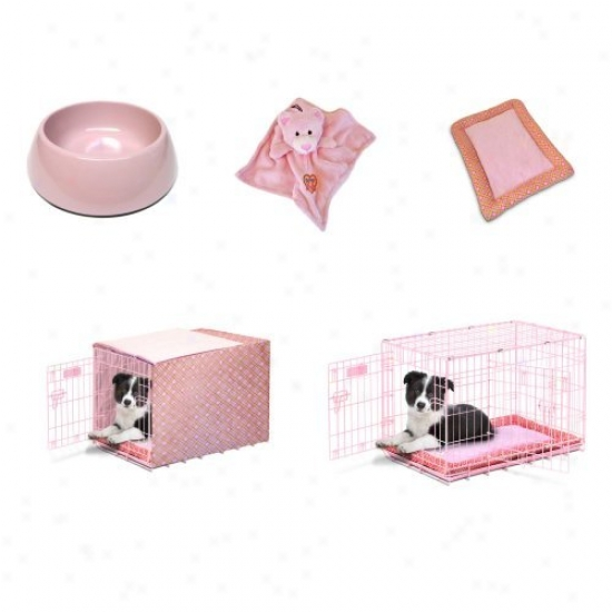 Snoozzy Baby 24 In. Crate Starter Kit Prepack With Duvet Cover - Pink