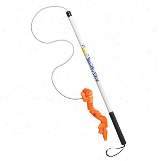 Squishy Face Studio Bwfp-zo Flirt Pole Dog Try Toy With Orange Zanies Bungee Gecko Lure