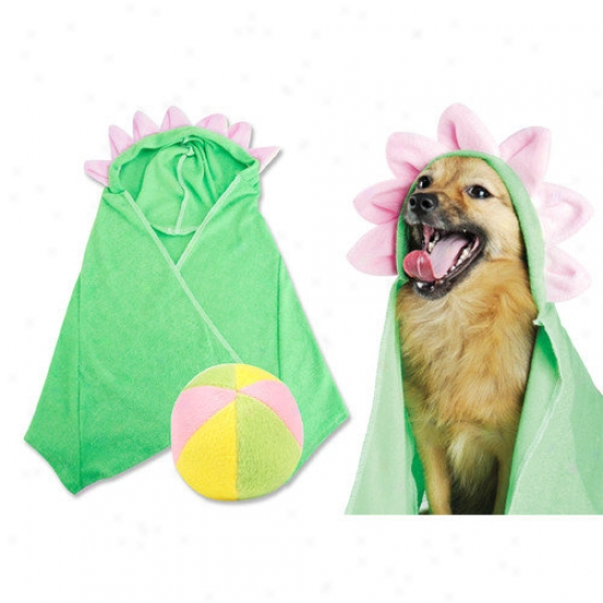 Trend Lab Pet Flower Hooded Towel And Plush Beach Ball Dog Toy