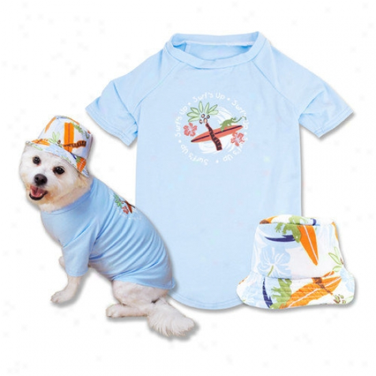 Trend Lab Pet Surf's Up Dog T-shirt And Hat In Blue