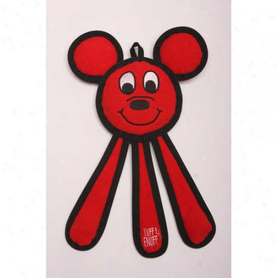 Tuff Enuff Dangles Mouse Dog Toy In Red