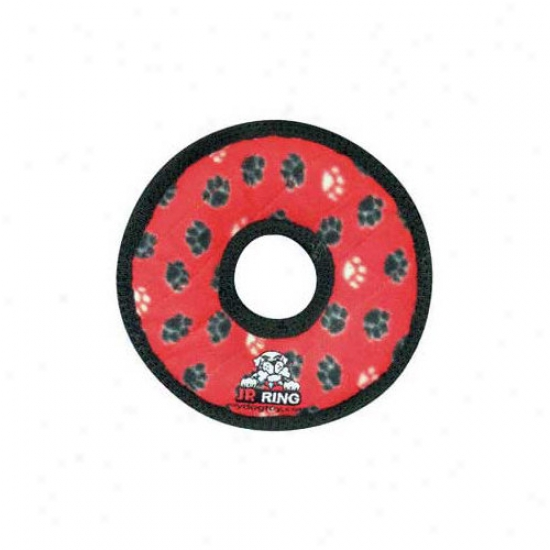 Tuffy's Pet Products Junior Ring Dog Toy In Red Paw