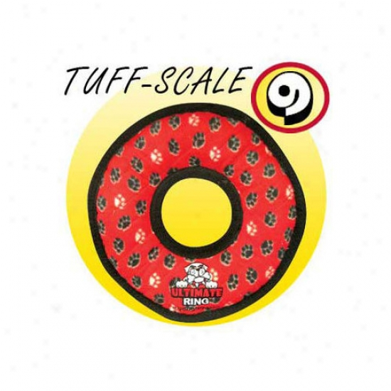 Tuffy's Pet Products Ultimate Ring Dog Toy In Red Paws