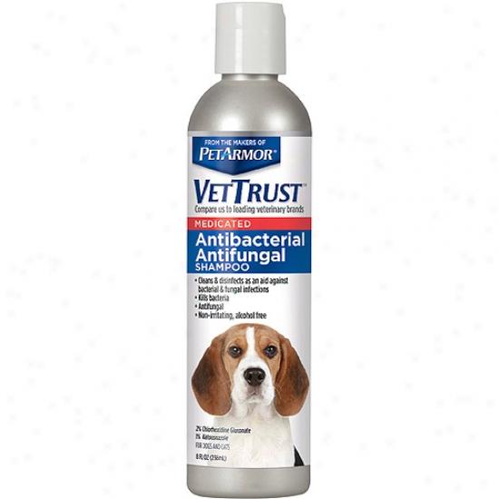 Vettrust Antibacterial Antifungal Sampoo For Dogs & Cats, 8 Fl Oz