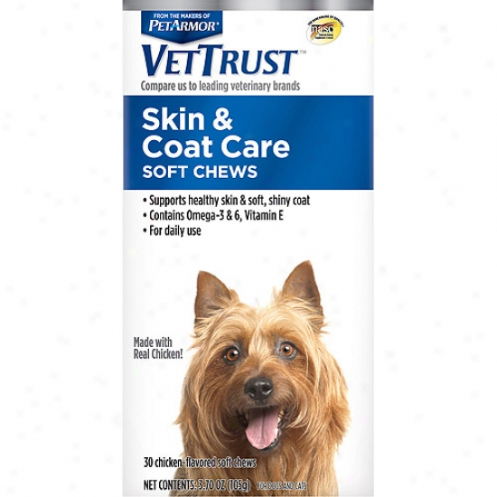 Vettrust Skin & Coat Care Soft Chews For Dogs & Cats, 30 Count