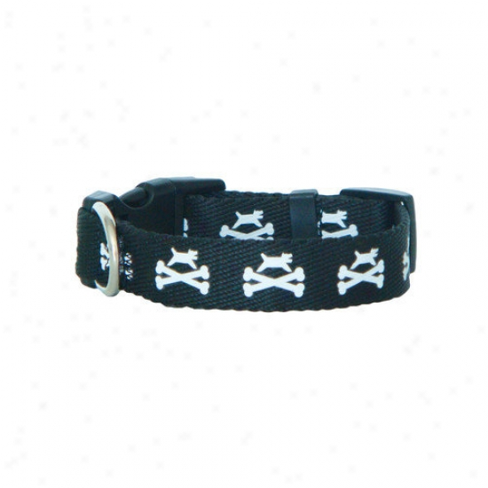 Wagberry Dog And Crossbones 3/4'' Adjustable Dog Collar
