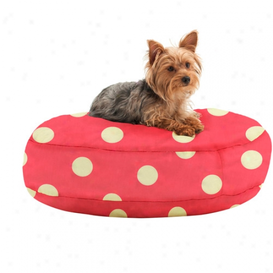 """Wuffuf Round Pet Bedd With Liner, 30"""" Diameter, Oxygen Candy Pink With White Dots"""